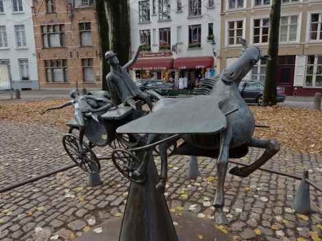 Cool sculpture in a cobble-stoned square