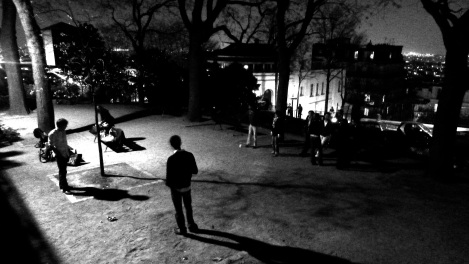 Night boules, Sacre Coeur b&w