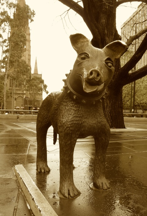 "Melbourne centre ""Larry Latrobe"" the dog"