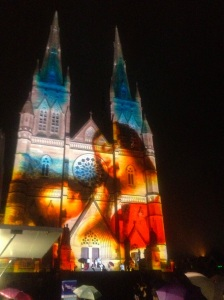 St, Marys' Madonna and child illumination, Sydney