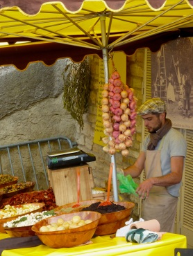 Bonnieux market stall, Provence, France