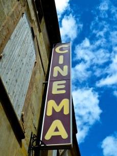 purple sign, Uzes cinema, Provence