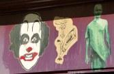 purple wall with street stencils, Paris