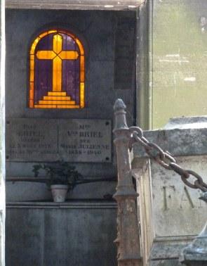 purple glass, Pere Lachaise cemetery, Paris