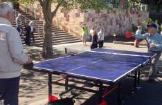 Melbourne:seniors table tennis at Fed Square