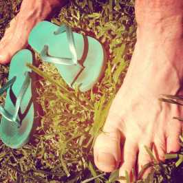 warmth- barefeet on warm grass